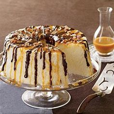 Start with an angel food cake mix and dress up the cake with double drizzles of chocolate and caramel sauce.