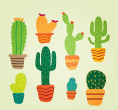 8 potted cactus cartoon - vector graphics