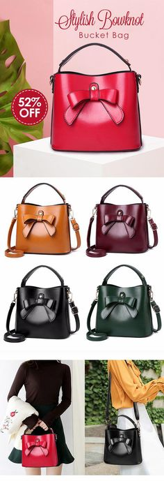 【US$29.38】Women Stylish PU Leather Bowknot Bucket Bag Shoulder Bags Crossbody Bags #cutebags #pinkbags #color #shoulderbag #newchicbags