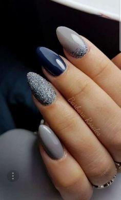 53 Elegant Gray Nail Art Designs and Ideas - Today Pin - French Nails - Nud . - 53 Elegant Gray Nail Art Designs and Ideas - Today Pin - French Nails - Nude Square Lace - White Triangular Long Elegant Bridal Nail Ring - Today - - Grey Nail Art, Gray Nails, Nude Nails, Coffin Nails, Grey Art, Sns Nails, Black Nails, Navy Blue Nails, Navy Acrylic Nails