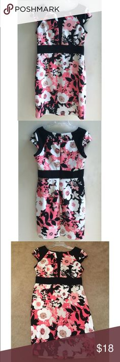 Pink & Black Floral Cap Sleeve Dress- Size 12 A-Line flatters any figure in this New York & Co size 12 dress! Slight V-neck; capped sleeves; back zip. In pristine condition, as only wore once. New York & Company Dresses Midi