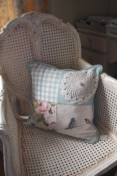 Handmade Patchwork Cushion  Blue Vintage by VintageCushionShop, £20.00