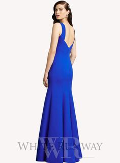 Lang Dress by Dessy Collections. Dessy dresses have 1-1.5 inches of ease built into the patterns to allow for movement and alterations. ** Elegant full length dress by Dessy Collections. A sleeveless crepe dress with bateau neckline and low back.