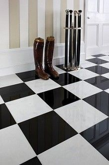 Polished Marble - A stately welcoming can be achieved with stone for a fabulous first impression. Durable with unsurpassed qualities, stone in the hallway will wear well in a busy home.