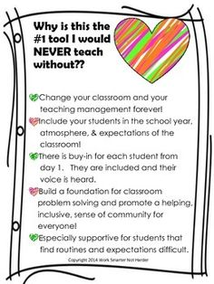 Classroom Social Contract- Behavior Management System What it does; #easy to put into effect and enforce in the classroom #year after year my students and my families tell me how much they love the social contract and how much it helps everyone stay on task and learn in a safe, encouraging environment. #reduces a HUGE number of behavior problems in your room from day 1 of putting it into effect. #trains your students to help one another follow the social contract day after day.