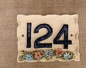 House number plaque, pottery door numbers, address sign - pinned by pin4etsy.com
