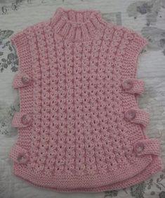 Baby Cardigan Knitting Pattern Free, Baby Poncho, Poncho Knitting Patterns, Knitted Baby Clothes, Crochet Clothes, Knitting For Kids, Baby Knitting, Knit Crochet, Crochet Baby Dresses
