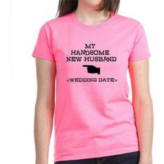 Cafepress Personalized New Husband (Wedding Date) Women's Dark T-Shirt, Size: XL, Pink