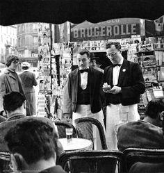 Les Deux Magots, Saint-Germain des Prés Paris ca. 1950 by Ervin Marton.