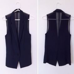Zara Mesh Back Vest This navy fitted vest is perfect for layering. Tuxedo front cut - Unique transparent mesh back. Worn only once. No Trades or Pp zara Tops