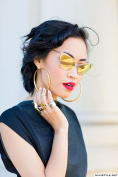 mirrored gold cat eye sunglasses - I think they are Tom Ford 2015
