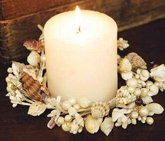 sea shells crafts ideas | Natural Sea Shell Candle Ring - Beach and Nautical - Weddings ...