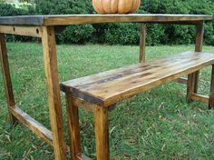 Reclaimed Wood Table & Bench