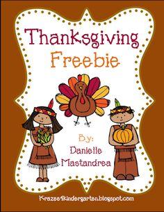 Thanksgiving Freebie- Common Core Aligned product from Krazee4Kindergarten on TeachersNotebook.com