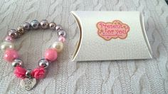 handmade STRETCHY ADJUSTABLE BRACELET silver beads pearls pink roses + GIFT BOX