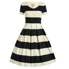 Dolce Cream Black Stripe Swing Dress | Vintage Dresses - Lindy Bop