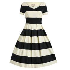 Dolce Cream Black Stripe Swing Dress   Vintage Dresses - Lindy Bop