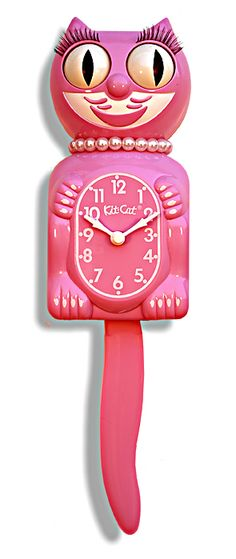 Vintage Honeysuckle Pink Lady Collector's Edition Kit-Cat Clock high) - Limited Edition Honeysuckle Pink Lady Kit-Cat Klock with Pearl necklace Pink Lady, Kit Kat Clock, Tout Rose, Cat Clock, Little Presents, Cat Wall, Everything Pink, Girly, My New Room