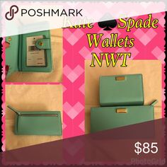 2 Soft Aqua colored Kate ♠️ Spade Wallets Color is SOFT AQUA which is closer to a mint green color. One is smaller and is a bi-fold the other is a medium size bi-fold. Both NWT, never used! Flawless condition. Selling as a part of a bundle in my other post or here as individual or together as well. (Separately $95 Larger size, $75 Smaller size) Open to reasonable offers, just no low ballers! Questions in the comment section please. Thank you and happy posing! 🦋🛍🌈🌟 kate spade Bags Wallets