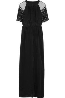ALICE by Temperley Everette tulle-paneled silk crepe de chine maxi dress | NET-A-PORTER