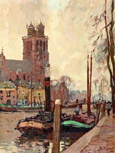 Herman Bogman (1890-1975), Boten in de haven bij de Grote kerk te Dordrecht, marouflé