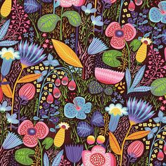 Floral print, cotton quilting weight fabric Dark Eggplant Toss Colors include: shades of purple, orange, blue, green, pink, red, yellow, black Manufacturer: Clothworks Item #: Y2225-46 Collection: Helens Meadow Coordinating fabrics: http://etsy.me/2uc7oR2 You choose: > Fat quarter