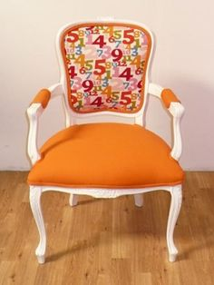 (Numbers Up Orange Antique French Louis Chair) Miniaturize it. Make one more this color and two more in a bold pink. Add a white table and trow it in a play room. -KML