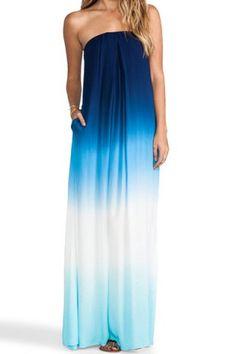 Stylish Strapless Sleeveless Gradient Color Women's Maxi DressMaxi Dresses | RoseGal.com