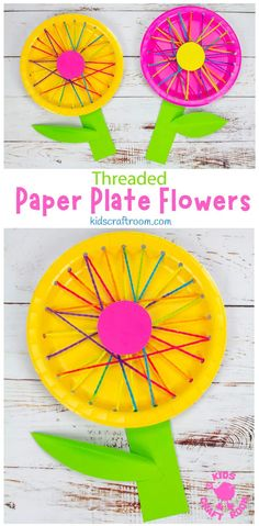 These Threaded Paper Plate Flowers are a lovely spring craft, summer craft or Mother's Day craft. This flower craft is really easy to make, looks so pretty and is a great way to introduce kids to sewing and to build fine motor skills! #kidscraftroom #kidscrafts #flowercrafts #paperplatecrafts #springcrafts #summercrafts #mothersdaycrafts Paper Plate Crafts, Paper Plates, Pretty Flowers, Colorful Flowers, Mothers Day Crafts, Crafts For Kids, Flower Plates, Colored Paper, How To Make Paper
