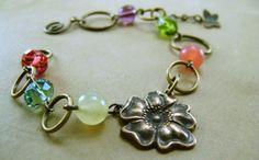 Whimsy Spring Brass Flower Garden Bracelet #jewelry #handmade #vintagestyle