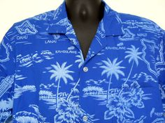 Ky's International Hawaiian Shirt Lge Mens Blue White Islands Palm Trees Names #KysInternational #Hawaiian