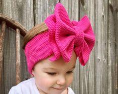 Custom Size Bow Headbands Soft and Stretchy No Tie Headwrap Custom Bows, Coral Orange, Big Bows, Bubblegum Pink, Baby Girl Newborn, Head Wraps, Hot Pink, Bow Headbands, Etsy