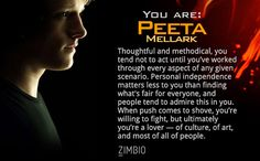 I took Zimbio's 'Hunger Games' personality quiz, and I am Peeta Mellark! Who are you?null - Quiz