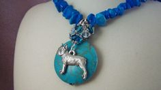 BOSTON TERRIER mr18 - Charm Necklace - Handmade by Artisan - Turquoise Howlite - Last One by HOBBYHORSELADY on Etsy