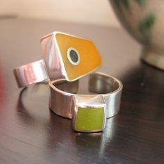 yellow  and green resin rings by Quercus Silver, via Flickr