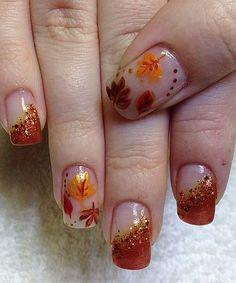 Beautiful Autumn Fall Leaf Nail Art Designs