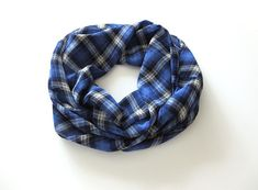 This plaid scarf is the perfect layering accessory for spring. Its lightweight sheer fabric is soft and comfortable to wear. It will make a great addition to your spring and summer wardrobe. #scarf #springstyle #fashion #summerscarf  Plaid Scarf Women Lightweight Scarves For Women Gift For Sister Spring Scarf Blue Plaid Infinity Scarf Chiffon Scarf Summer Navy Blue Scarf