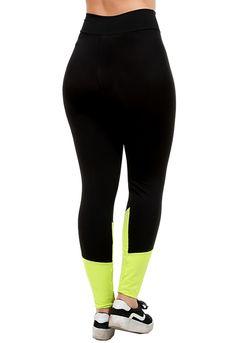 056890058 Calça Legging Academia GALVIC Roupa Fitness 9888 Preto Verde