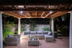 Picture of arbour with comfortable garden furniture photo
