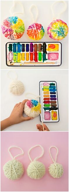 DIY Yarn Ball Watercolor Ornaments. Colorful ornaments kids can make for a fun winter holiday art project. Winding the yarn is great for fine motor skills.