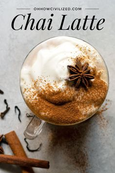 The best homemade Chai latte recipe from scratch with whipped cream. You'll never go back to store-bought chai latte after trying this masala chai recipe! Easy Chai Recipe, Best Chai Tea Recipe, Milk Tea Recipes, Latte Recipe, Coffee Recipes, Drink Recipes, Espresso Recipes, Smoothie Recipes, Vegan Recipes