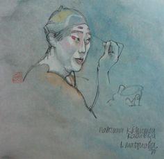 Lynn Matsuoka Kabuki actor applying makeup