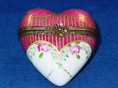 Red White Heart Limoges Box