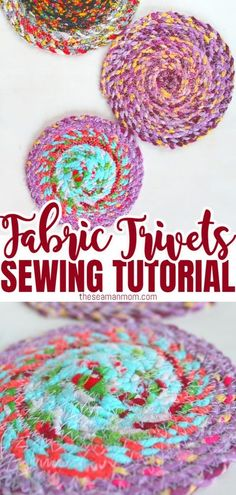 FABRIC TRIVETS SEWING TUTORIAL - These super useful homemade trivets are a great beginners project and perfect idea to use up some of those fabric scraps! If you've been looking for fabric twine projects, this is one you won't want to skip! #easypeasycreativeideas