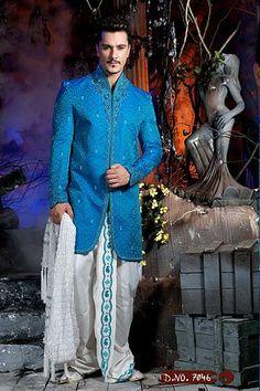 Indian-Men's-Blue-Sherwani-White-Dhoti