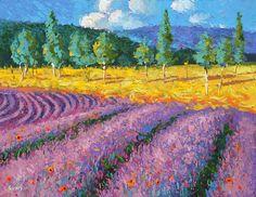 "Lavender Field. Modern Art Acrylic Painting by Dmitry Spiros. Size: 20""x26""  #Impressionism"