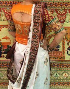 Find Pretty Orange Blouse Designs For Sarees Here High Neck Saree Blouse, Mirror Work Saree Blouse, Cut Work Blouse, Saree Dress, Long Blouse, Blouse Designs High Neck, Sari Blouse Designs, Blouse Styles, Saree Blouse Patterns