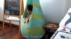 Knitting Patterns Cocoon Knitted Hanging Chair Free Pattern Perfect For Reading Nook Knitting Patterns Free, Free Knitting, Free Pattern, Crochet Patterns, Pattern Ideas, Knitting Designs, Quilt Pattern, Crochet Home, Hand Crochet