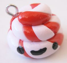 Christmas Holiday Peppermint Poop Handmade Polymer Clay Charm. $4.50, via Etsy.