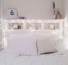Tumbler Bedrooms Headboard With Lights Bed Shelf String Bedroom